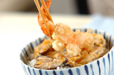 トロトロ卵のエビ天丼の作り方3