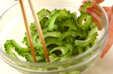ゴーヤと豆腐の炒め物の下準備1