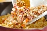菊菜のおろしのせチャーハンの作り方2