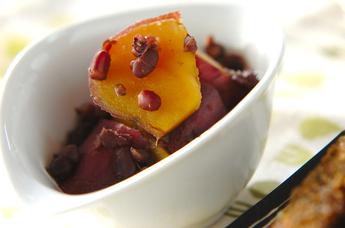 サツマイモと小豆の煮物