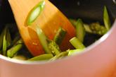 グリーンアスパラと半熟卵のリゾットの作り方2