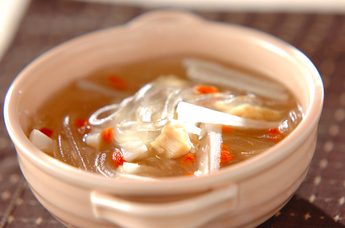 葛きりとレンコンのスープ