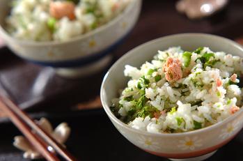 菜の花とタラコの混ぜご飯