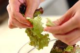 生ハムのグリーンサラダの下準備1