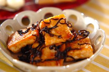 豆腐の塩昆布炒め