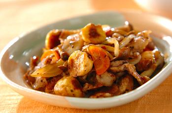 豚バラ肉と麩の中華炒め