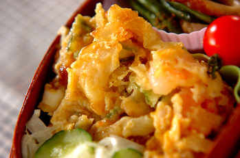天ぷらの卵とじ