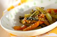 野沢菜と柿の炒め物