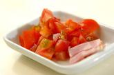トマトとベーコンのふんわり卵スープの下準備1