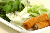 白菜とゴボウ天の煮物の下準備1