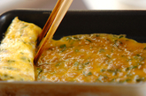 肉そぼろの卵焼きの作り方3