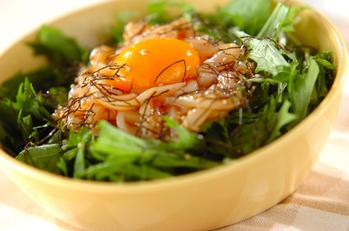 イカと水菜のユッケ風サラダ