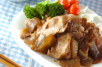 豚肉と板コンニャクのショウガ焼き