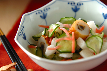 長芋と紅ショウガの和え物