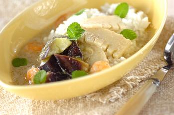 ココナッツグリーンカレーのスープご飯