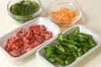 シシトウと牛肉の佃煮の下準備1