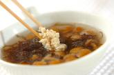 ナメコともずくのスープの作り方2