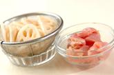 レンコンと鶏の梅スパゲティーの下準備1