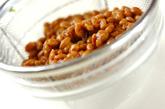 納豆とひき肉のパスタの下準備1