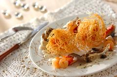 パリパリ素麺のクリームソース