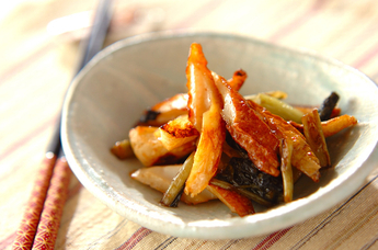 ちくわと野沢菜の炒め物