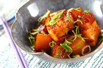 大根と豚肉のピリ辛煮