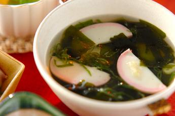 ワカメとカマボコのスープ