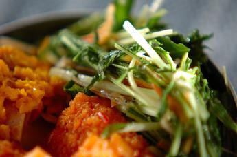 水菜のエビジャコ炒め