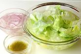 レタスと紫玉ネギサラダの下準備1