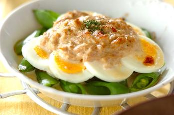 卵とエンドウのツナマヨ焼き