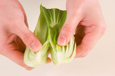 チンゲン菜の炒め煮の下準備1