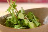 キュウリと水菜のサラダの作り方1