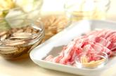 豚肉と白菜の炒め蒸しの下準備1