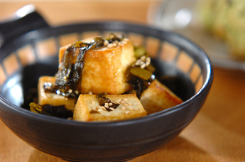 豆腐と高菜の炒め物
