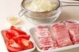 豚薄切肉のショウガ焼きの下準備1