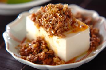 豆腐の肉みそがけ