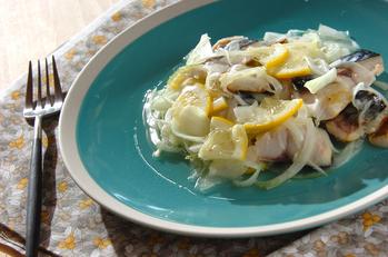 塩サバのレモンマリネ