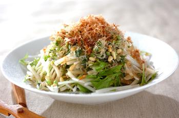 大根と水菜のパリパリジャコサラダ 【大根上部+大根葉】