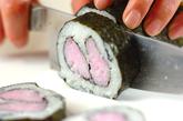 ハートの巻き寿司の作り方5