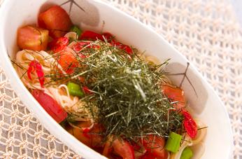 トマトと桜エビ混ぜ素麺