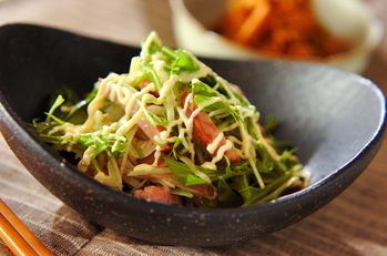焼豚と水菜のサラダ