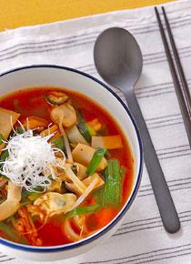 カキ・キムチ味のスープ