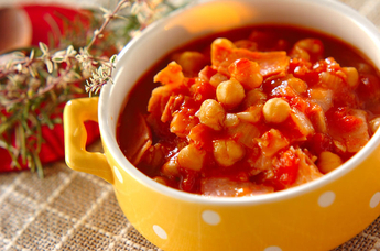 ヒヨコ豆とベーコンのトマト煮