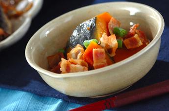 カボチャとベーコンの煮物