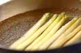 ホワイトアスパラと温泉卵のサラダの下準備1