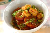 サツマイモと鶏肉のコチュジャン煮