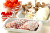 鶏肉とシメジのケチャップ煮の下準備1