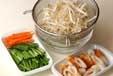 モヤシのサッと煮の下準備1