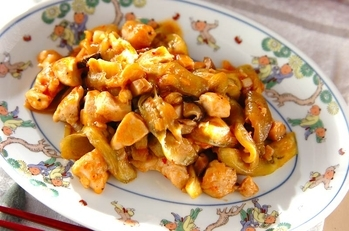 鶏とナスのピリ辛炒め