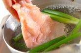 ゆで鶏と野菜のゴママヨがけの作り方1